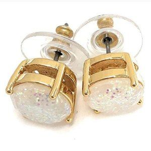 NWT Kate Spade Glitter Round Opaque Earrings